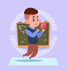 Small school boy in love hold heart shape standing vector