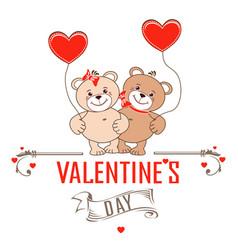 Teddy bears with hearts vector