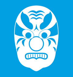 Tribal mask icon white vector