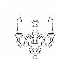 Vintage classic lamp with candle vector