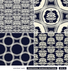 Vintage ornamental backgrounds blue set vector image vector image