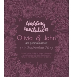 Wedding invitation with hand drawn flowers leaves vector