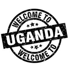 Welcome to uganda black stamp vector