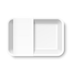 White empty styrofoam food tray with blank label vector