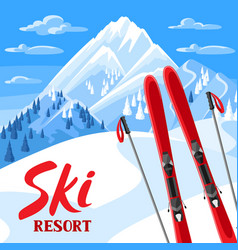 winter landscape with skiing equipment snowy vector image vector image