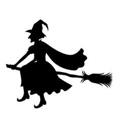 Witch on broom silhouette vector