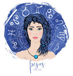 zodiac signs pisces in image of beauty girl vector image vector image