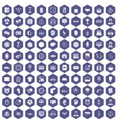 100 clock icons hexagon purple vector