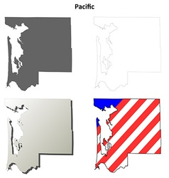 Pacific map icon set vector