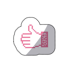 Pink silhouette sticker of pixel thumb up and vector