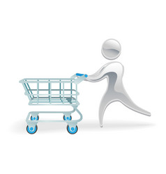 metallic character shopping cart trolly concept vector image