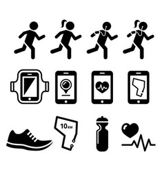 Jogging people running jogging apps icons set vector