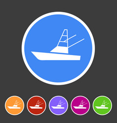 Sport fish boat yacht icon flat web sign symbol vector