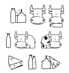 Cow and dairy food vector