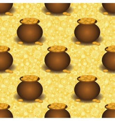 Seamless background pots with gold vector