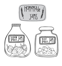 Strawberry and blueberry jams vector