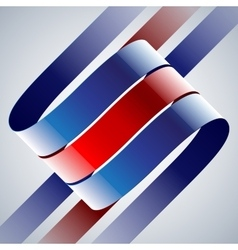 Red and blue shiny curved ribbons on white vector