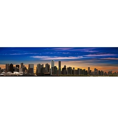 Abstract sunrise city background with panorama of vector