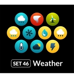 Flat icons set 46 - weather collection vector