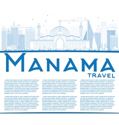 Outline manama skyline with blue buildings vector