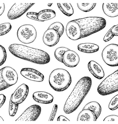 Cucumber hand drawn seamless pattern vector