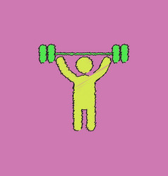 A man lifting weight silhouette in hatching style vector