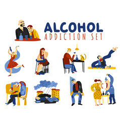 Alcohol addiction icons set vector