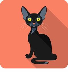 Bombay Black Cat icon flat design vector image