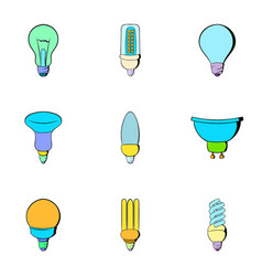 Bulb icons set cartoon style vector