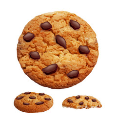 chocolate chip cookies 3d photo realistic vector image