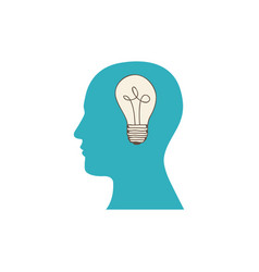 Color silhouette of human face with light bulb in vector