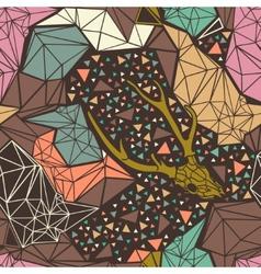 Deer skeleton with geometric polygonal ornament vector image vector image