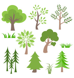 Different tree and grass icon set vector