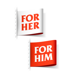 for her and for him labels vector image vector image