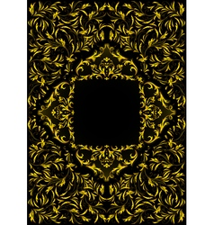 Frame with golden floral ornament vector image vector image