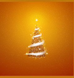Gold christmas tree blizzard stars background vector