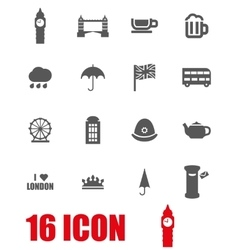Grey london icon set vector