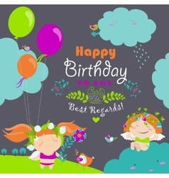 Happy birthday card with cute angels vector