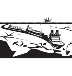 Icebreaker make way for industrial ships vector image