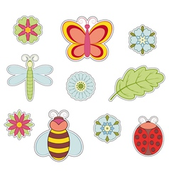 Insect and flower vector image vector image