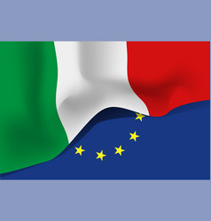 italy national waving flag on european union vector image