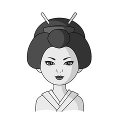 japanesehuman race single icon in monochrome vector image vector image