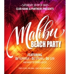 Malibu Beach Party poster Tropical background vector image vector image