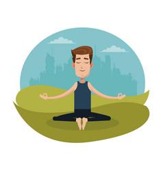Man posing yoga meditation vector