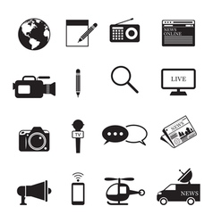 News and journalism mono icons set vector