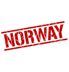 Norway red square stamp vector