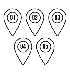 Numbered pin markers icon outline style vector