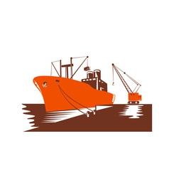 Passenger cargo ship with crane vector