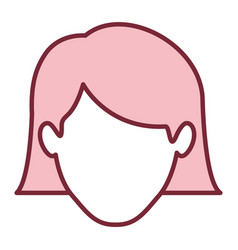 Pink silhouette of faceless woman with the hair vector