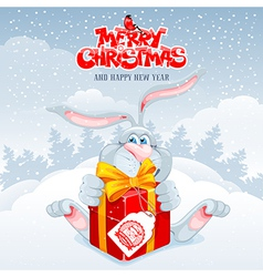 Rabbit Christmas vector image vector image